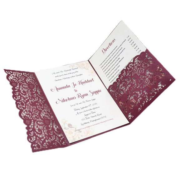 Trifold Invitation Card with Pocket Envelope