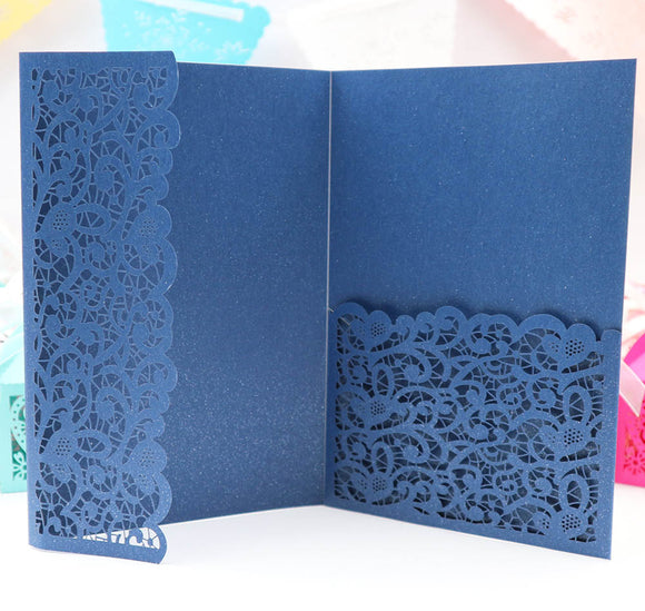 Flower Pocketfold Invitation Card 1pc