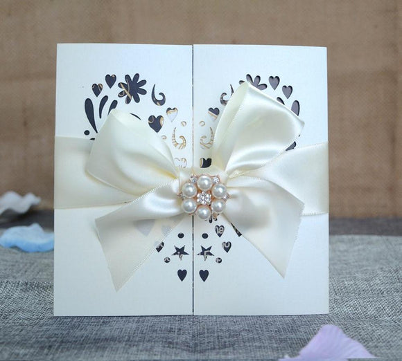 Paper Lace Heart Wedding Card 50sets/lot