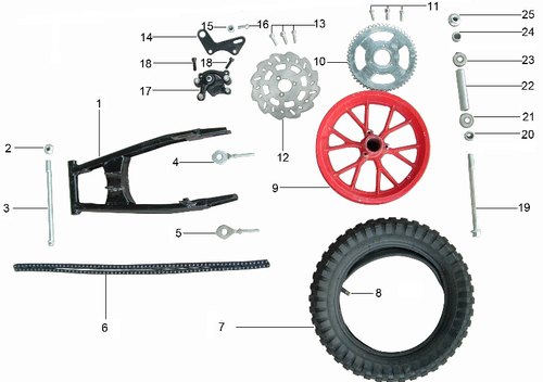 SYX MOTO Holeshot Mini Dirt Bike Parts and Accessories for Rear Wheel Replacement