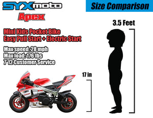 SYX MOTO Apex Electric Start 49cc 2-Stroke Gas Power Mini Pocket Bike Off Road, Red/White