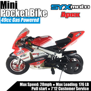 SYX MOTO Apex Pull Start 49cc 2-Stroke Gas Power Mini Pocket Bike Off Road, Red/White