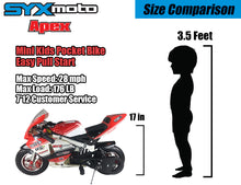 Load image into Gallery viewer, SYX MOTO Apex Pull Start 49cc 2-Stroke Gas Power Mini Pocket Bike Off Road, Red/White