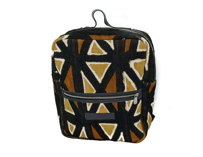 Andrew backpack in multi color mudcloth with leather trim