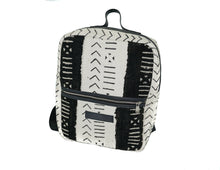 Load image into Gallery viewer, Andrew backpack in black and white mudcloth with leather trim