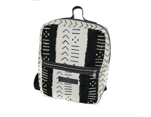 Andrew backpack in black and white mudcloth with leather trim