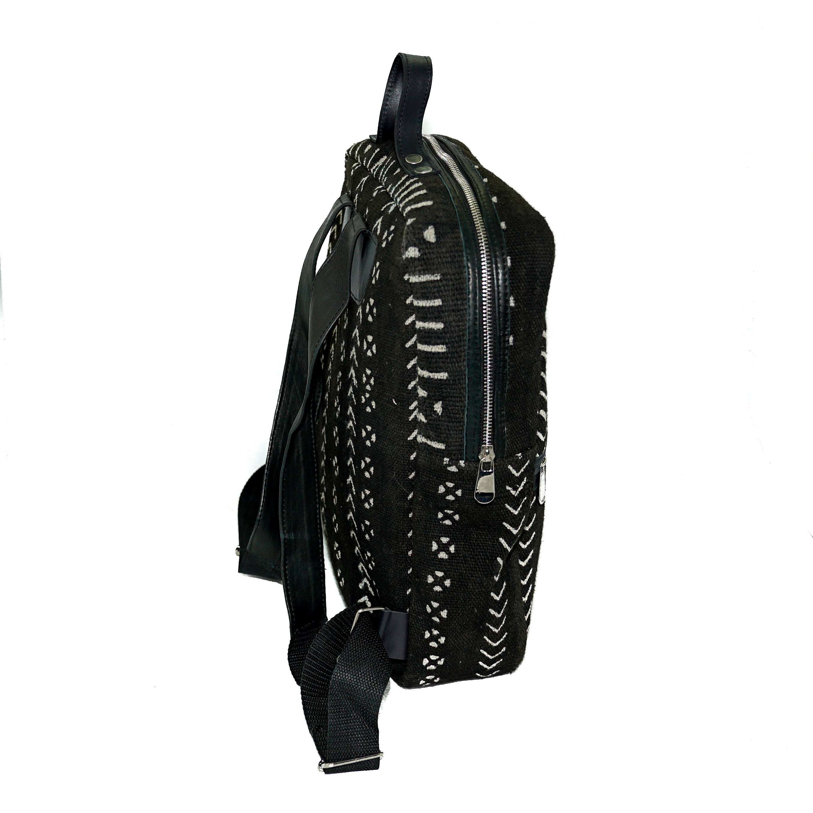 Bakau backpack in black mudcloth with leather trim