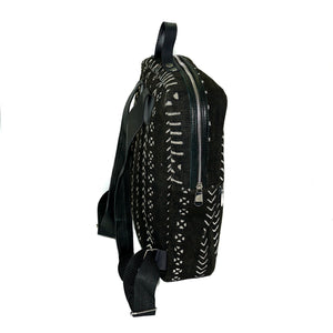 Andrew backpack in black mudcloth with leather trim