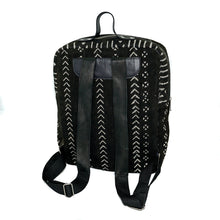 Load image into Gallery viewer, Andrew backpack in black mudcloth with leather trim