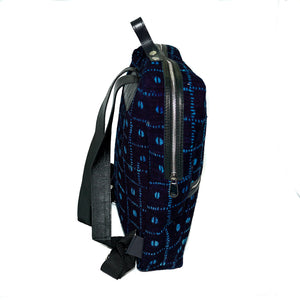 Bakau backpack in black and blue mudcloth with leather trim