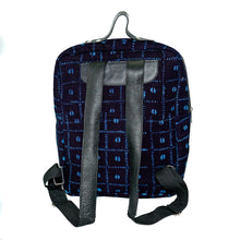 Load image into Gallery viewer, Andrew backpack in black and blue mudcloth with leather trim