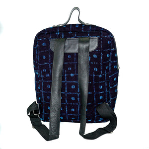 Andrew backpack in black and blue mudcloth with leather trim