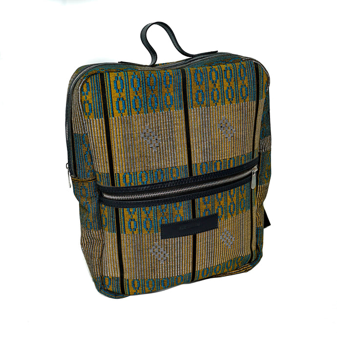 Andrew backpack in blue and yellow fulani print with leather trim