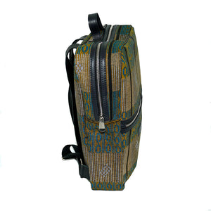 Bakau backpack in blue and yellow fulani print with leather trim