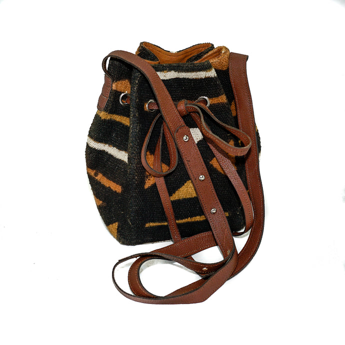 Amie bucket bag in multi color mudcloth
