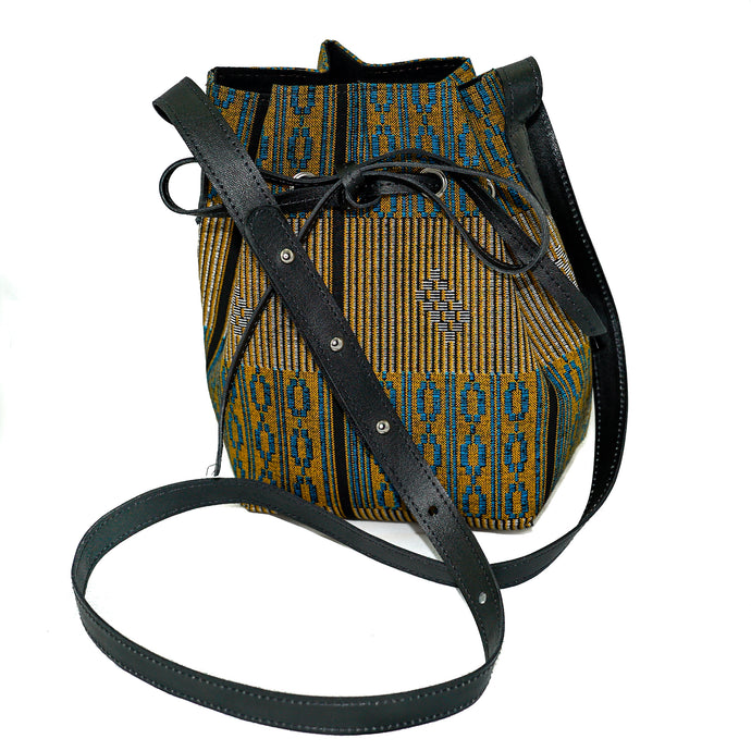 Amie bucket bag in yellow and blue fulani print