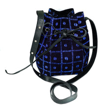 Load image into Gallery viewer, Amie Bucket Bag in Black and Blue Mudcloth