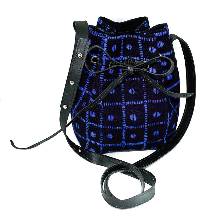 Amie bucket bag in black and blue mudcloth
