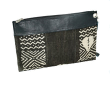 Load image into Gallery viewer, Marie clutch in black and white mudcloth with leather trim