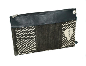 Marie clutch in black and white mudcloth with leather trim