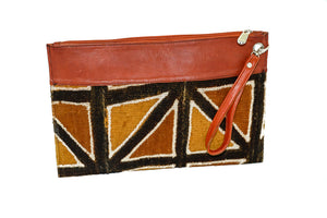 Marie clutch in multi color mudcloth with leather trim