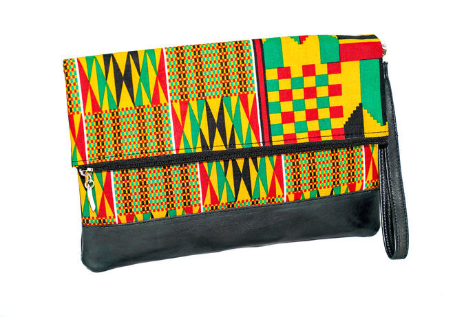 Marie fold over clutch in modern kente wax print with leather trim