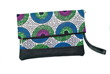 Load image into Gallery viewer, Marie fold over clutch in multi print wax with leather trim