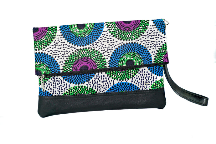Marie fold over clutch in multi print wax with leather trim