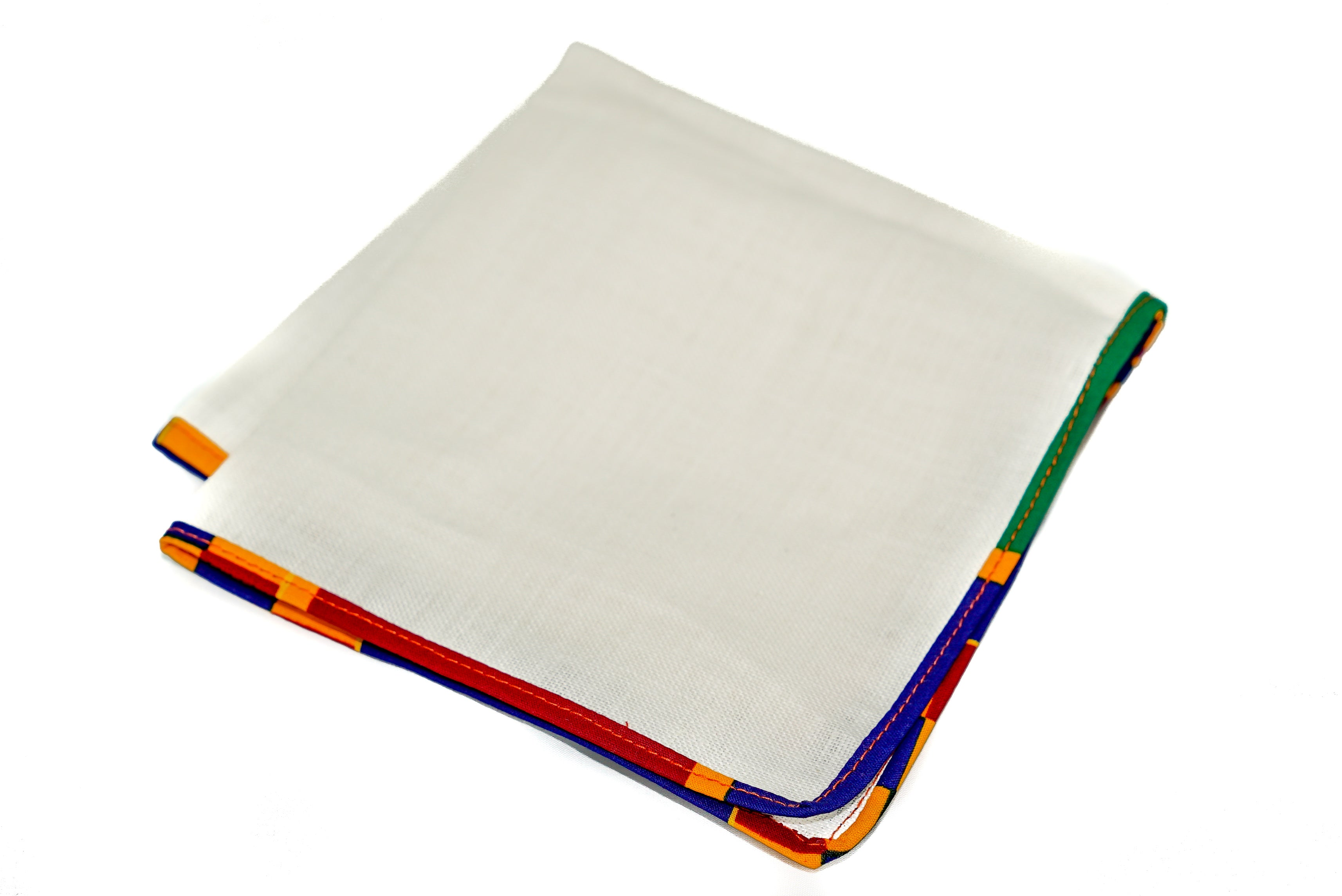 Osho linen pocket square in new kente trim