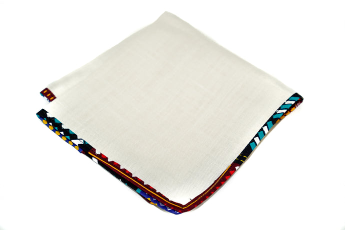Osho linen pocket square in multi pattern trim