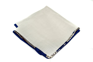 Osho linen pocket square in blue paisley trim