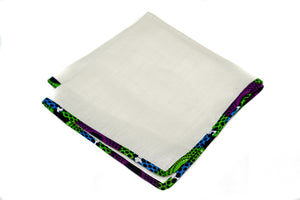 Osho linen pocket square in multi color pattern trim