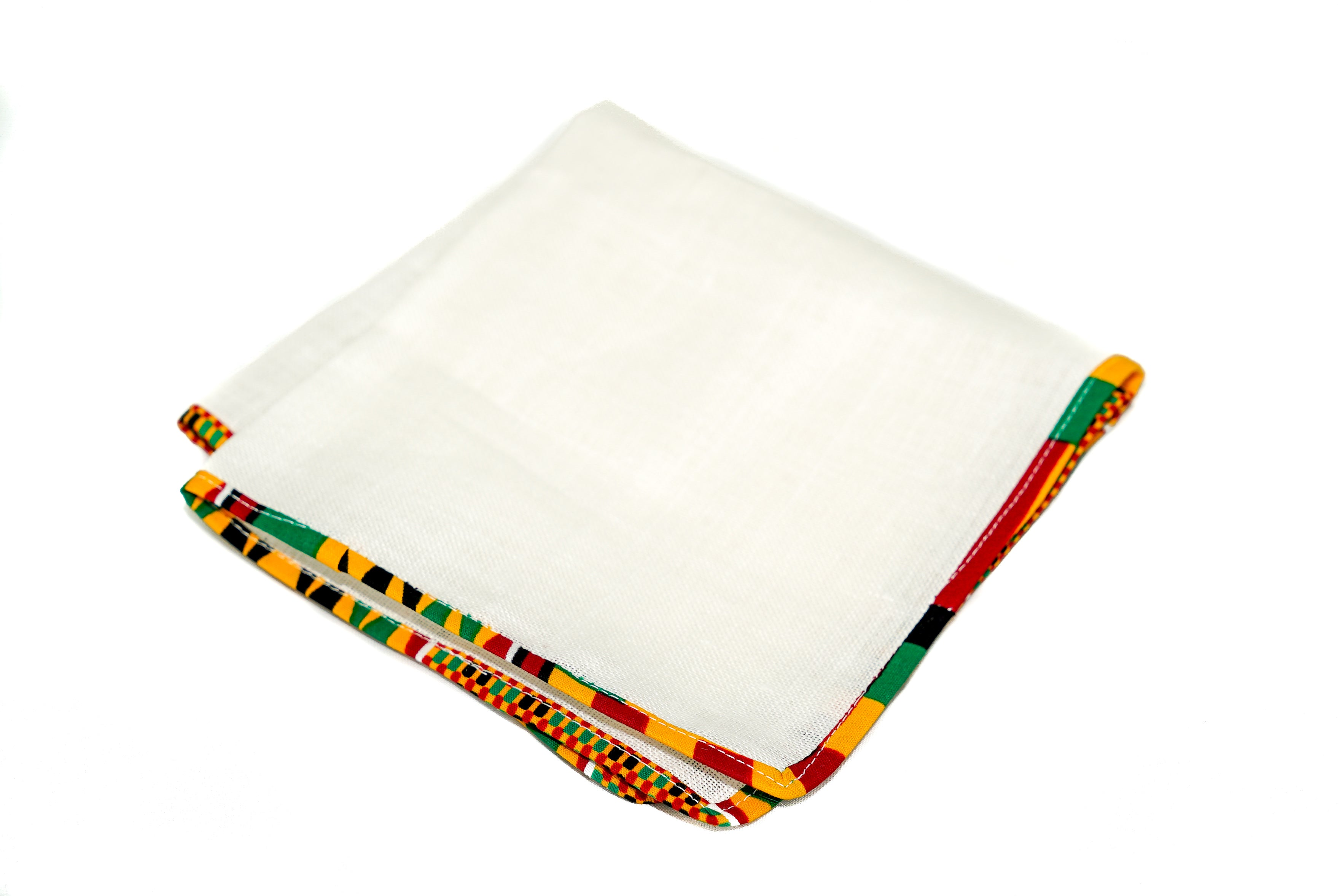 Osho linen pocket square in traditional kente trim