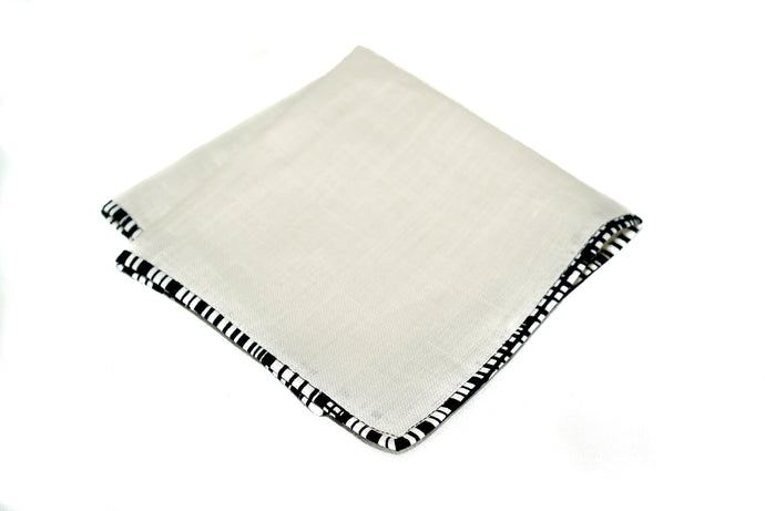 Osho linen pocket square in black and white trim