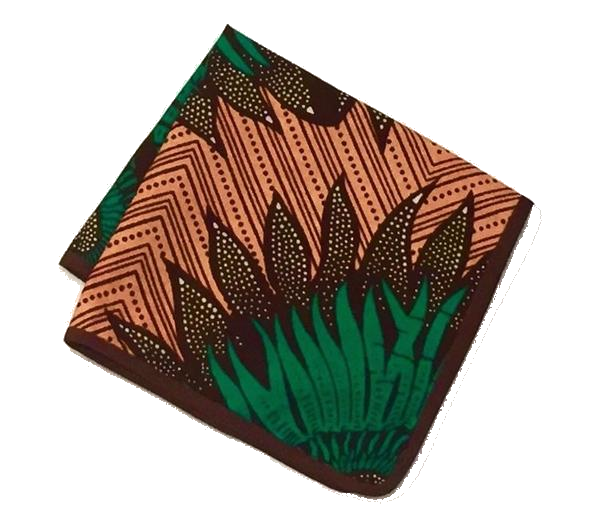 Osho pocket square in brown and green print