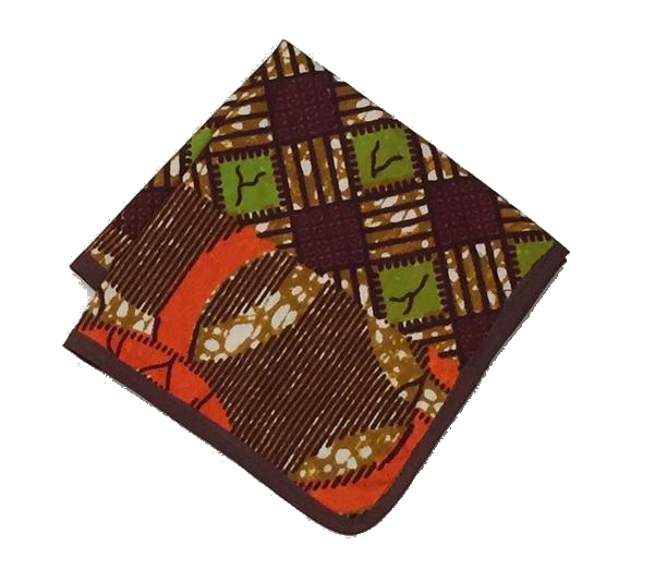 Osho pocket square in brown and green floral print