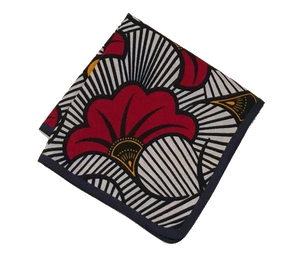 Osho pocket square in navy and red floral print