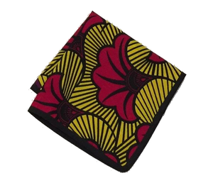 Osho pocket square in yellow and red floral print