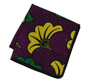 Osho pocket square in purple-green-yellow floral print