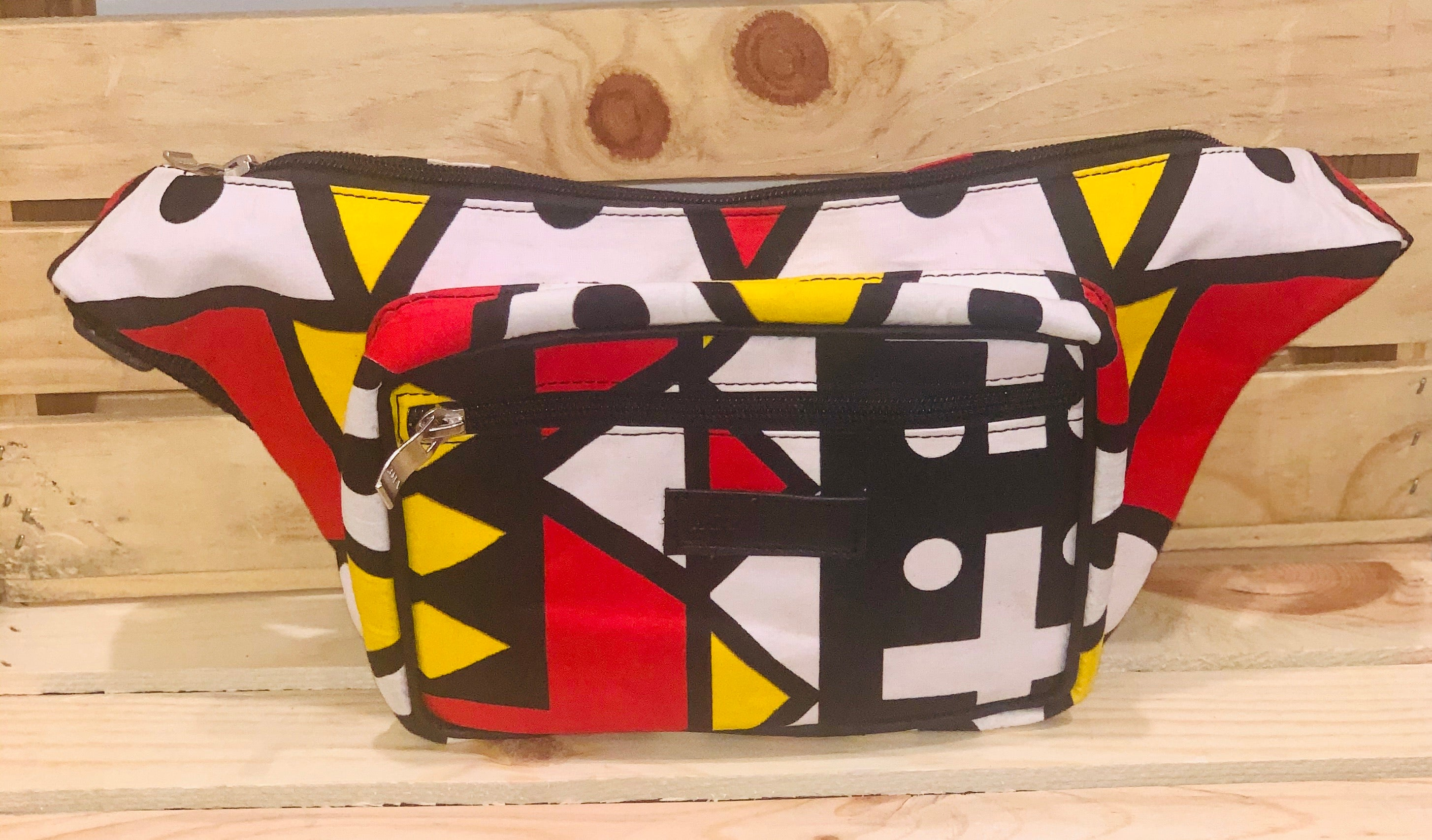 Mamharr Fanny Pack- Black and Red Ankara