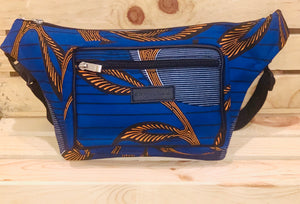 Mamharr Fanny Pack- Blue and Orange Ankara