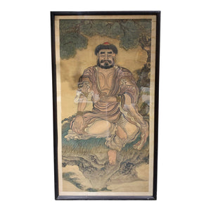 Late 18th Century Shakyamuni Buddha Silk Scroll, Framed - Lynn's World Consignment™