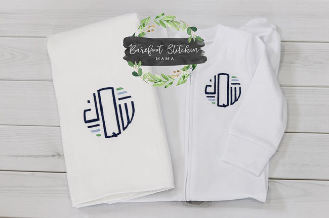 Footed sleeper and burp cloth set