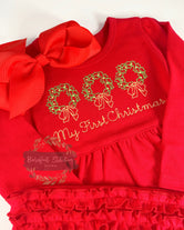 My First Christmas ruffle red dress