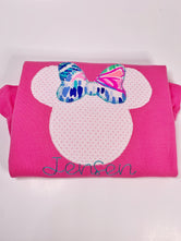 Minnie appliqué with Lilly fabric