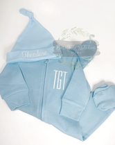 Blue sleeper with monogram