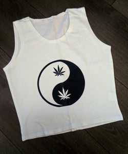 Weed Yin and Yang Fitted Tank Crop Top
