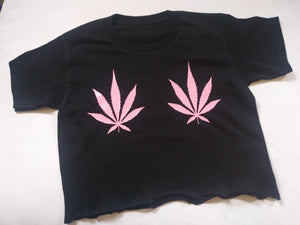 Weed Leaf Covers Fuck Cancer Shirt