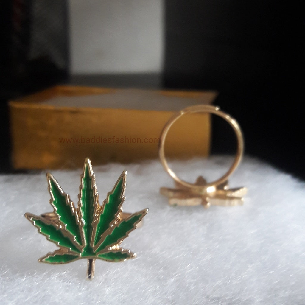 Weed Leaf Gold Plated Ring