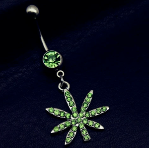Rhinestone Weed Plant Belly Ring